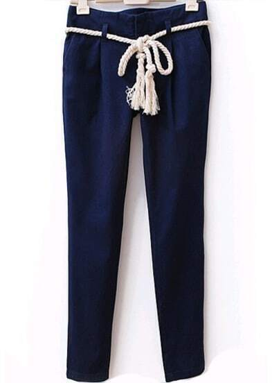 Pockets Slim Navy Pant With Hemp Rope