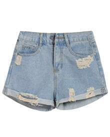 Vintage Ripped Denim Blue Shorts