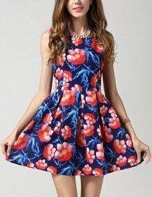 Sleeveless Lotus Print Flare Dress