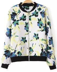 Floral Print White Jacket