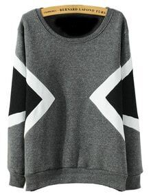 Geometric Print Loose Grey Sweatshirt