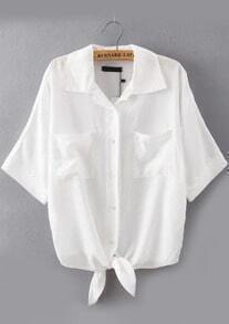 Lapel With Pockets White Blouse