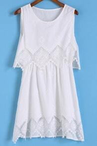 With Embroidered Hollow White Dress