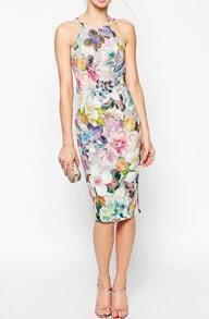 Halter Back Split Florals Flowers Slim Dress