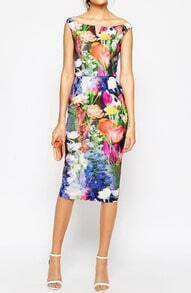 Boat Neck V Cut Back Split Florals Dress