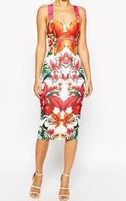 Straps Florals Back Split Dress