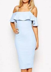 Off The Shoulder Ruffle Slim Dress