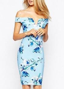 Off The Shoulder V Cut Florals Bodycon Dress