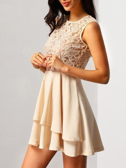 With Zipper Lace Insert Flare Pink Dress pictures