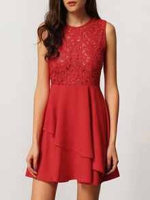 With Zipper Lace Insert Flare Red Drop Waist Dress