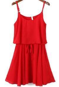 Spaghetti Strap Ruffle Chiffon Red Dress