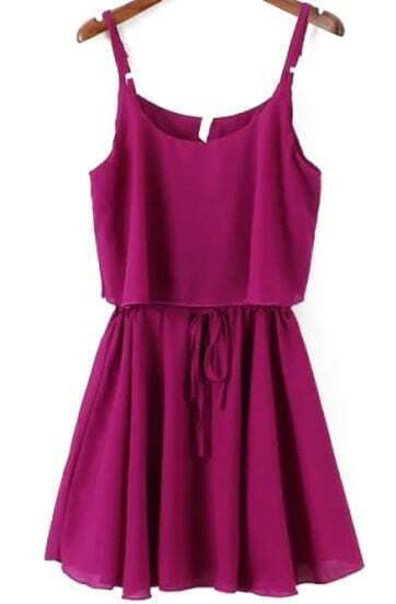 Spaghetti Strap Ruffle Chiffon Purple Dress