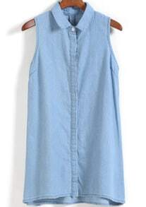 Lapel Sleeveless Dip Hem Denim Dress