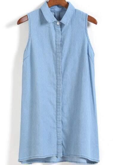 Lapel Sleeveless Dip Hem Denim Dress