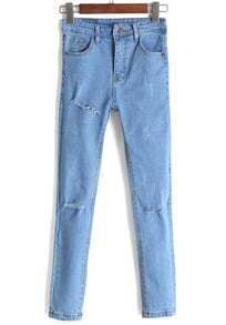 High Waist Ripped Slim Denim Pant