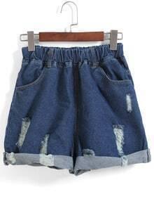 Elastic Waist Ripped Flange Navy Shorts