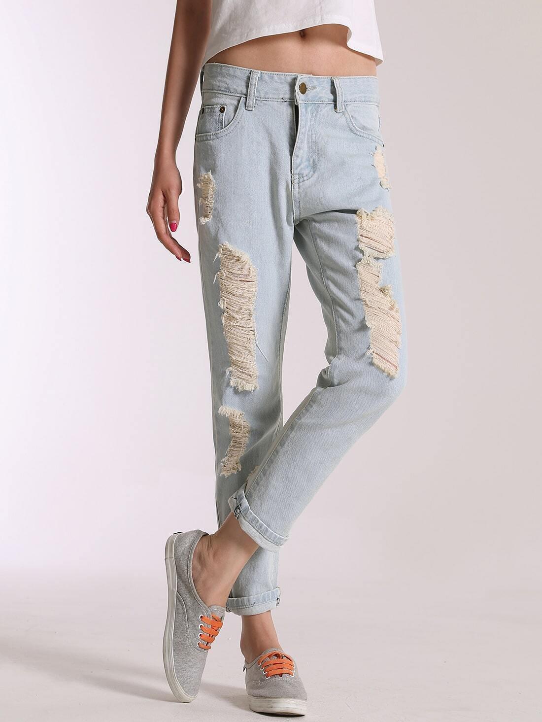 schmale jeanshose mit zerrissenen design hell blau german shein sheinside. Black Bedroom Furniture Sets. Home Design Ideas