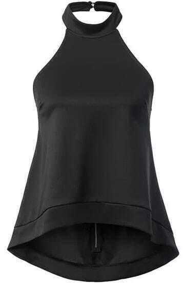 neckholder top mit abfallendem saum schwarz german shein. Black Bedroom Furniture Sets. Home Design Ideas
