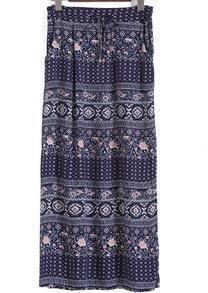Drawstring Waist Floral Navy Skirt