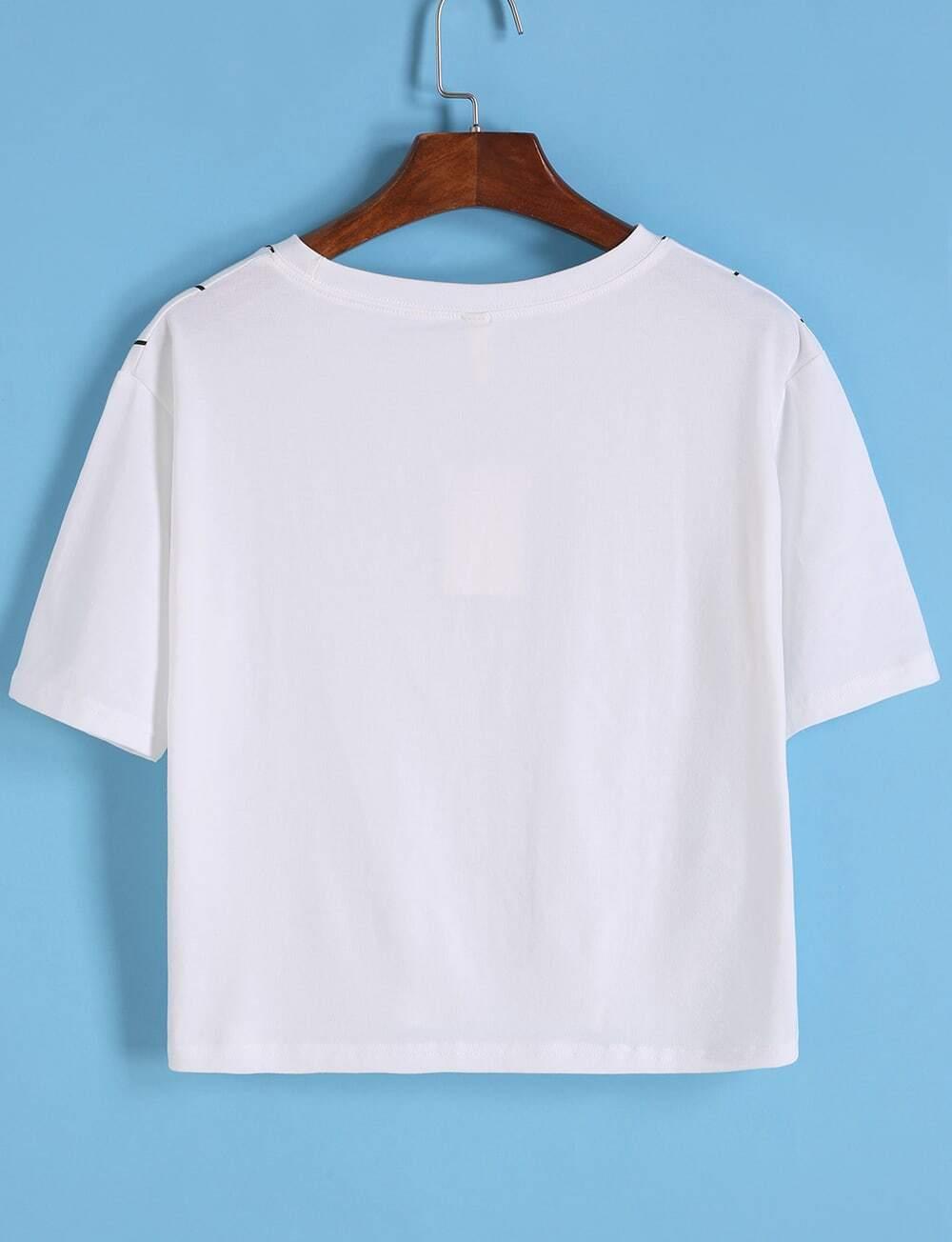 Letter Print Vertical Striped White T-shirt -SheIn(Sheinside)
