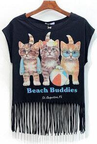 With Tassel Cat Print Black T-shirt