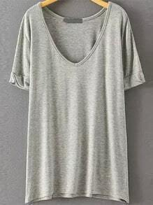 V Neck Loose Pale Grey T-shirt