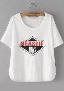 Letter Geometric Print Loose T-shirt
