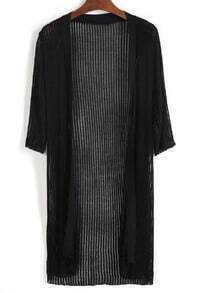 Vertical Striped Knit Long Cardigan