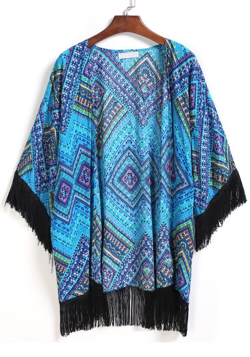 With Tassel Geometric Print Kimono