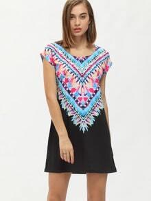 Black Blue Vintage Print Folk Ethnic Charming Nice Bonny Glamour Color Block Dress
