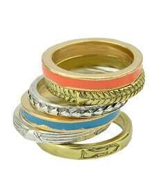 New Model Alloy Colorful Women Fashion Ring Set