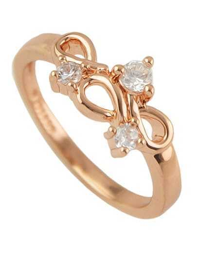 New Model Simple Rhinestone Rose Gold Plated Ring