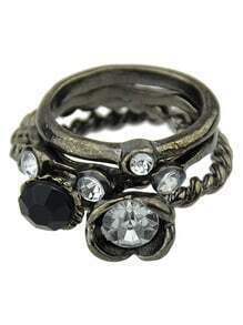 Cheap Wholesale Vintage Style Black Ring Set