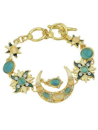 Moon Star And Sun Rhinestone Charm Bracelet