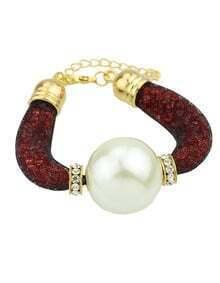 2015 Latest Design Mix Color Fake Big Pearl Bracelet Bangle
