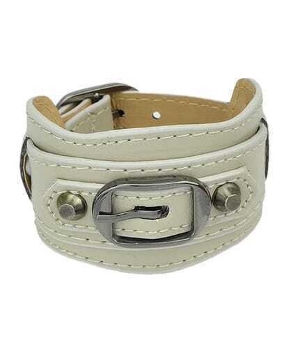 Gray Wide Women Leather Bracelet