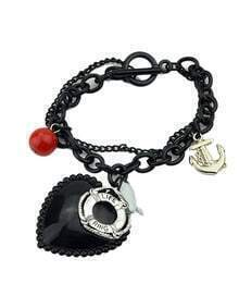 Wholesale Cheap Gothic Style Black Big Heart Charm Bracelet