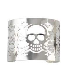 Alloy Silver Plated Skull Head Hollow Out Wide Cuff Bracelet