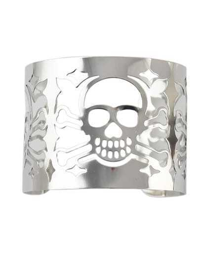 Alloy Silver Plated Skull Head Hollow Out Wide Cuff Bracelet pictures