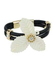 Mixed Color Gold Plated Big Clover Braided Leather Bracelet