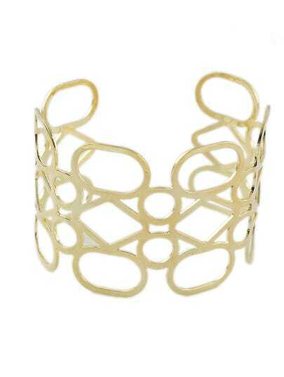 Gold Plated Hollow Out Cuff Bracelet