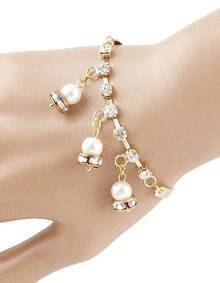 Cheap Gold Plated With Hanging Fake Pearl Charm Bracelet 2015