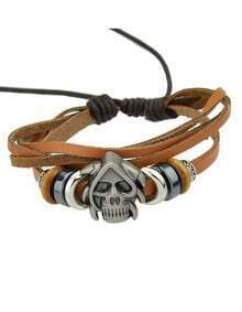 Punk Style Skull Head Adjustable Leather Bracelet