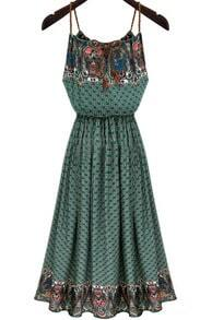 Green Spaghetti Strap Vintage Geometric Print Dress