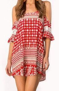 Red Spaghetti Strap Geometric Print Loose Dress
