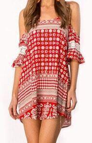 Red Spaghetti Strap Geometric Print Loose Dress