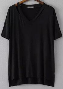 Black V Neck Hollow Dip Hem Loose T-Shirt