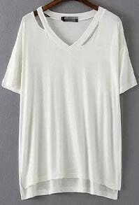 White V Neck Hollow Dip Hem Loose T-Shirt