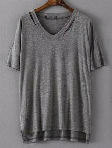 Grey V Neck Hollow Dip Hem Loose T-Shirt