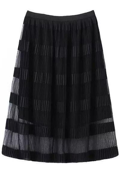 black pleated sheer mesh skirt shein sheinside